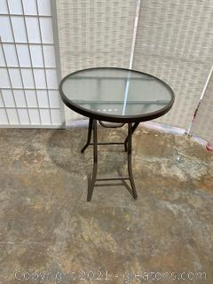 Outdoor Tempered Glass Side Patio Table