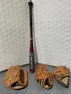 2 Youth Baseball Mitts, 1 Adult Mitt 1 Youth Baseball Bat (4 Pieces)
