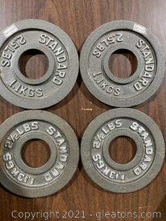 Standard Metal Weights 4 @ 2.5 LBS Each Barbel