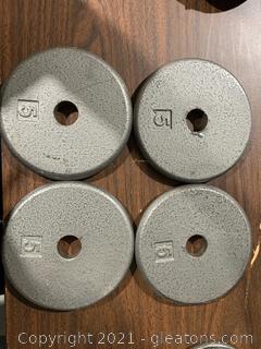 Four 5 LBS Metal Weights Barbel