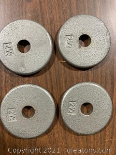 Four 2.5 LBS Metal Weights Barbel