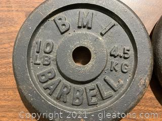 Pair of BMI 10 LBS Weights Barbel