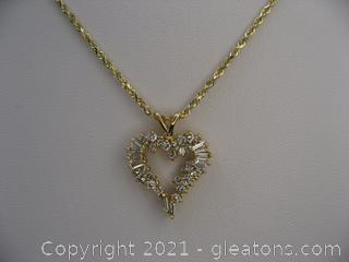 Diamond and 14kt Yellow Gold Diamond Heart Necklace
