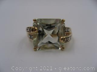 10kt Yellow Gold Green Amethyst and Diamond Ring