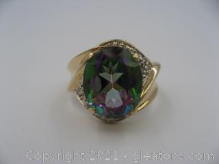 10kt Yellow Gold Mystic Topaz and Diamond Ring