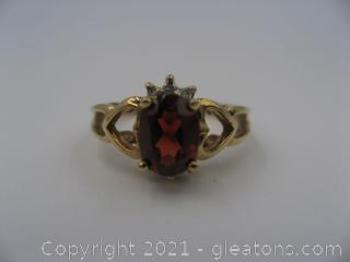 10kt Yellow Gold Garnet and Diamond Ring