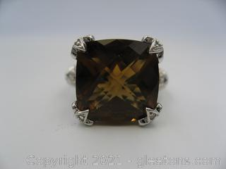 Judith Ripka Golden Topaz and CZ Sterling Silver Ring