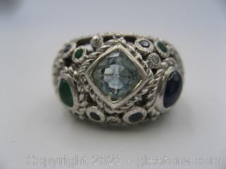 Judith Ripka Blue Topaz, Sapphire and Emerald Sterling Silver Ring
