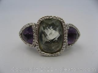 Green and Purple Amethyst Ring