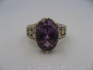 Imitation Alexandrite and CZ Ring