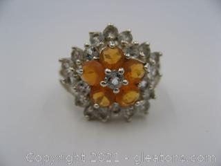 Fire Opal and White Topaz Ring in Sterling Silver