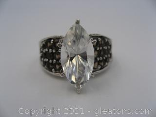 White Topaz and Smokey Quartz Ring in Sterling Silver