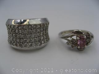 2 Sterling Silver and CZ Rings
