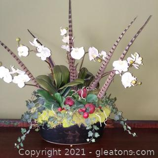Floral and Feather Arrangement