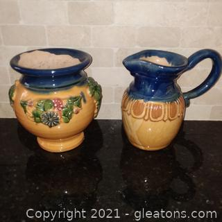 Matching Ceramic Planter and Water Pitcher