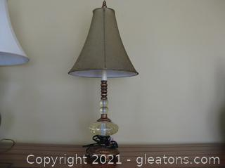 Pretty Bronze Color and Glass Table Lamp