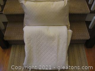 White Quilted Bedspread with Throw Pillow