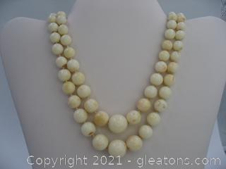 White Coral Double Strand Necklace with 14KY Clasp