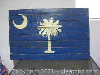 South Carolina Flag on A Wooden Wall Hanger