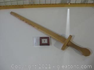 32'L Toy Wooden Sword and Wooden Mini Pic Frame
