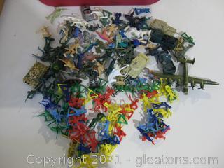 Box of Plastic Toy Figures