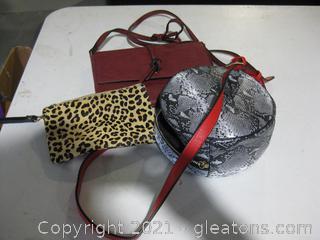 2 Small Purses and a Makeup Bag