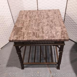 Marble Topped End Table On Metal Base