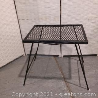 Small Metal Table with Grated Metal Top