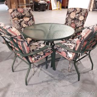 Patio Furniture –Round Glass Top Table with Metal Base, 4 Chairs with Cushions