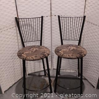 Pair of Metal Barstools with Round Upholstered Seats