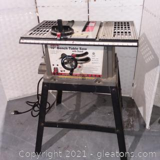 """Ace 10"""" Bench Table Saw with Stand"""