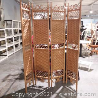 4 Panel Folding Rattan Wicker Room Divider