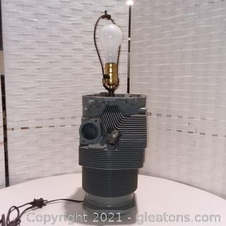 Repurposed Aircraft Engine Cylinder Lamp with Shade