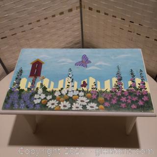 Beautiful Hand Painted Step Stool- Flower Garden