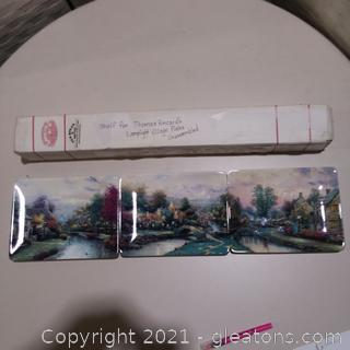 3 Thomas Kinkade Lamplight Village Collector's Plates With Shelf