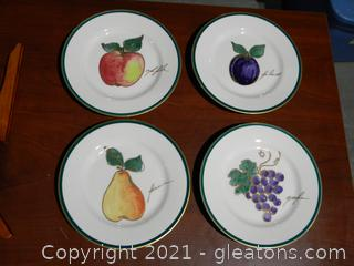 Set of 4 Fruit Themed Plates with Stands