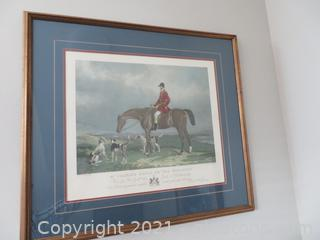 Gorgeous Wand H Barraud Mr. Charles Davis on the Traverser Print Fox Hunt Horse Dogs (Located in Cottage 1)