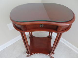 Elegant Glass Topped, Wooden Side Table (A) (located in cottage 1 upstairs)