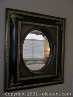 Opulent Black Mirror With Gold Trim (located in Event Center)