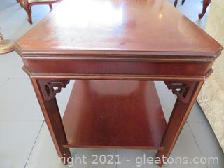 Mid Century Glass Topped Mahogany Side Table (located in Event Center)
