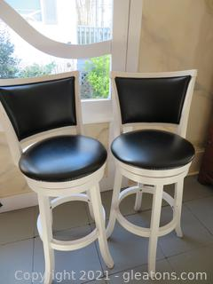 (Set of Two) White Bar Stools with Black Leather Seat and Backs (located in Event Center)