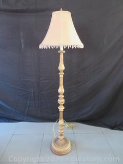 Gorgeous Gold Gilt Floor Lamp With Light Brown Shade (located in Event Center)