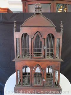 Ornate Brown Wooden Bird Cage (located in Event Center)