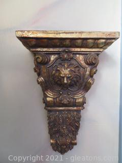 Elegant Gold Lion Shelf Sconce (located in Event Center)