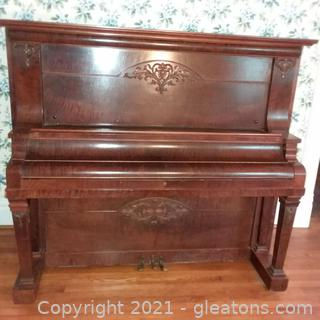 Beautiful Antique Packard Upright Piano- Burled Wood (located in house)