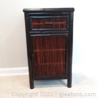 Small Bamboo and Cane Storage Cabinet (located in cottage 1)