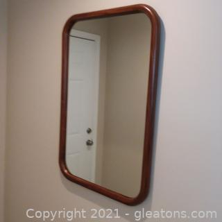 Lovely Wood Frame Wall Mirror (located in cottage 1)