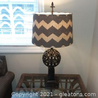 Metal Fleur De Lis Table Lamp with Chevron Shade (located in cottage 1)
