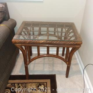 Glass Topped Bamboo Side/Accent Table (located in cottage 1)