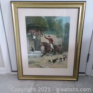 """Beautifully Framed """"The Huntsman Courtship""""  SE Waller Lithograph  (Located in cottage 1)"""